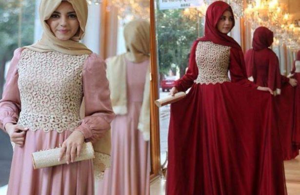 prom dress for muslim - lace chiffon robe de soiree high neck long donate prom dresses